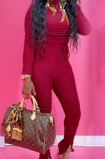 Wine Red Ruffle Drawsting Pure Color O Neck Long Sleeve Pencil Pants Slim Fitting Sports Sets SMD82079-1