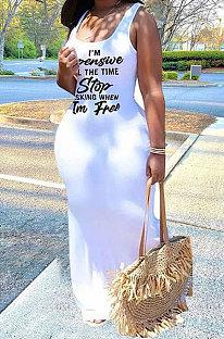White Sexy Women Sleeveless Letters Printing Condole Belt Plus Long Dress DLY8022-2