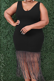 Black Plus Size Women Low Collar Sleeveless Tassel Solid Colur Dress P8739-1