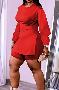 Red New Cotton Blend Long Sleeve Round Collar Waist Side Slit Shorts Pure Color Plus Two-Piece QSS51029-5