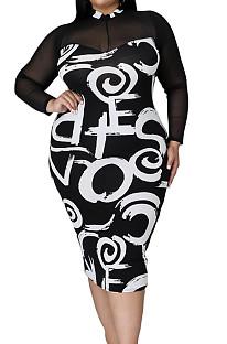 Black See-Througk Mesh Spliced Printing Long Sleeve Round Collar Plus A line Dress P8743