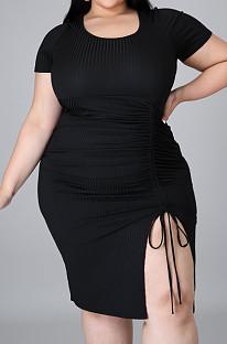 Black Plus Size Ribber Short Sleeve Round Collar Drawsting Midi Dress QZ5288-1