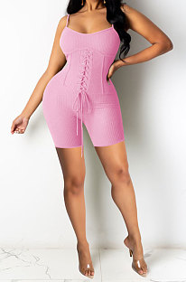 Pink Euramerican Women Pure Color Condole Belt Eyelet Bandage Sexy Romper Shorts Q774-1