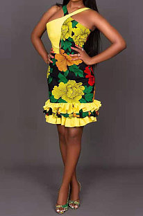 Flower Multicolor Condole Belt Backless Digital Printing Falbala Mini Dress XMS9161
