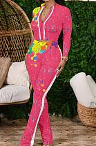 Rose Red Cotton Blend Splash-Ink Printing Long Sleeve Stand Collar Zipper Long Pants Sports Sets ZQ9219-3