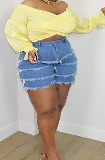 Dark Light Blue  Plus Size Tiered Spliced Casual Buttoned Jean Shorts QZ5289-2