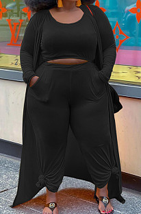 Black Plus Size Solid Colur Casual U Neck Tank Wide Leg Pants Long Sleeve Coat Three Piece QSS51030-1