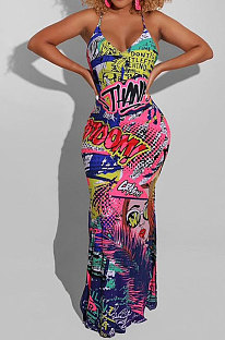 Pink Red Sexy Women Printing Condole Belt Cross Plus Long Dress DLY80278