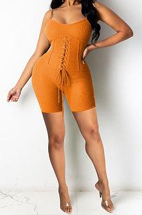 Orange Euramerican Women Pure Color Condole Belt Eyelet Bandage Sexy Romper Shorts Q774-2