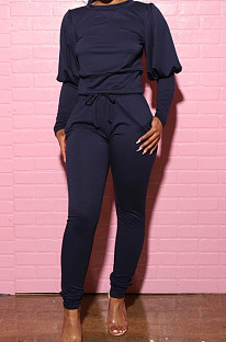 Navy Blue Casual Round Collar Puff Sleeve T-Shirt With Pocket Tied Pencil Pants Sports Sets SMD82078-4