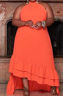Orange Sexy Women Bevel Edge Solid Color Sleeveless Fashion Plus Long Dress DLY80308-1