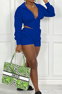 Royal Blue Cotton Blend Long Sleeve Hoodie V Neck Whit Pocket Shorts Solid Colou Sports Sets ZNN9100-3