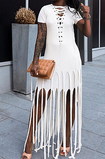 White Cotton Blend Eyelet Drawstring Short Sleeve Tassel Solid Colur T Shirt Dress SZS8057-2