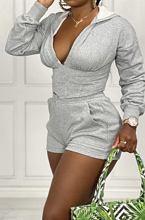 Grey Cotton Blend Long Sleeve Hoodie V Neck Whit Pocket Shorts Solid Colou Sports Sets ZNN9100-1