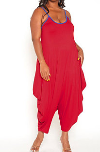 Red Women Casual Condole Belt Sexy Loose Plus Jumpsuit YBS86718-2
