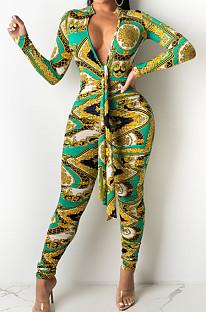 Green Cotton Bledn Digital Printing Long Sleeve Deep V Collar Bodycon Jumpsuits SMR10285-3