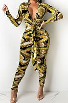 Yellow Cotton Bledn Digital Printing Long Sleeve Deep V Collar Bodycon Jumpsuits SMR10285-1
