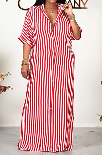 Half Sleeve Loose Strap Shirt Lower Hem Split T Shirt/Shirt Dress HN041