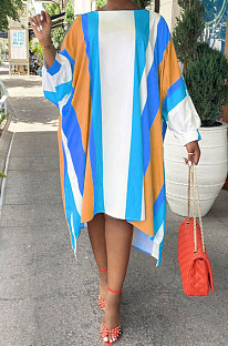 Blue Euramerican Women Positioning Strap Printing Long Sleeve Loose Midi Dress AYQ05014-3