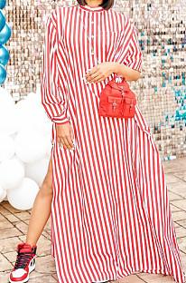 Red Stripe Print Long Sleeve O Collar Single-Breasted Shirt Slit Long Dress ZNN9103-2
