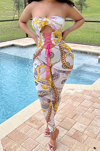 White Women Trendy Printing Strapless Tied Holow Out Bodycon Jumpsuits BYQ1006