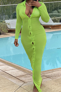 Green Autumn New See-Througk Mesh Lapel Collar Long Sleeve Single-Breasted Sunscreen Shirt Dress SY8822-4