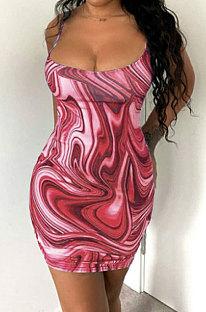 Red Trendy Casual Sexy Backless Condole Belt Printing Mini Dress GB1001-2