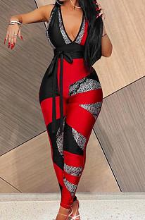 Red Digital Printing Spliced Halter Neck Deep V Collar Sleeveless Bowknot Sexy Bodycon Jumpsuits SZS8025-1