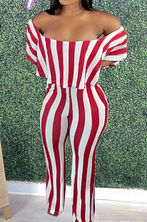 Red Stripe Print Flounce A Word Shoulder Casual Wide Leg Jumpsuits ZNN9102-1