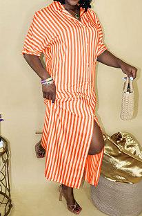 Orange Women Strap Printing Split Lower Hem T Shirt/Shirt Dress AYQ05016-3