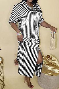 Black Women Strap Printing Split Lower Hem T Shirt/Shirt Dress AYQ05016-2
