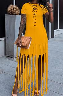 Yellow Cotton Blend Eyelet Drawstring Short Sleeve Tassel Solid Colur T Shirt Dress SZS8057-4