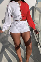 Red Spliced Eyelet Bandage Long Sleeve O Collar Blouse Shorts Two-Piece BBN188-1
