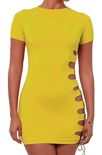 Yellow Women Round Neck Short Sleeve Solid Color Fashion Bandage Tight Mini Dress GB1003-2
