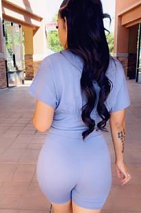 Light Blue Cotton Blend Round Neck Short Sleeve Collcet Waist Blouse Shorts Two-Piece CL6056-2