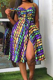 Yellow Summer Fashion Colorful Printing Loose Strapless Condoel Belt Dress HYY8072-1