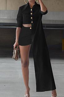 Black Cotton Blend Irregularity Long Sleeve Laper Collar Shirt Shorts Solid Color Casual Sets TZ1205-2