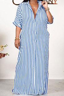 Blue Women Strap Printing Split Lower Hem T Shirt/Shirt Dress AYQ05016-1
