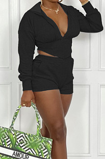 Black Cotton Blend Long Sleeve Hoodie V Neck Whit Pocket Shorts Solid Colou Sports Sets ZNN9100-2