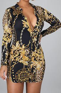 Black Digital Printing Long Sleeve Lapel Neck Single-Breasted Slim Fitting Shirt Dress SMR10186-1