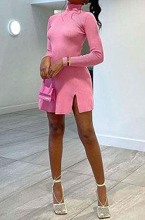 Pink Women Solid Color High Neck Casual Long Sleeve Lower Hem Split Mini Dress AFM60027-1