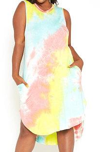 Tie Dye Rainbow Sleeveless Round Neck Printing Irregularity Pocket Plus Mini Dress YBS86721