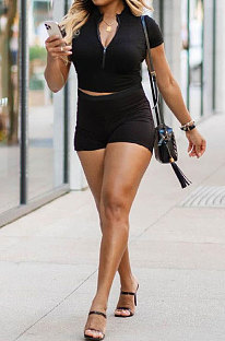Black Women Short Sleeve Zipper Pure Color Casual Fashion Shorts Sets GB1009-1
