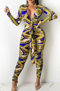 Blue Cotton Bledn Digital Printing Long Sleeve Deep V Collar Bodycon Jumpsuits SMR10285-2
