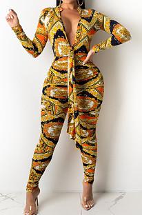 Orange Cotton Bledn Digital Printing Long Sleeve Deep V Collar Bodycon Jumpsuits SMR10285-4
