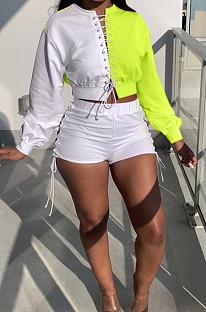 Neon Green Spliced Eyelet Bandage Long Sleeve O Collar Blouse Shorts Two-Piece BBN188-3