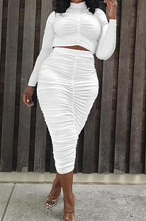 White Elastic Ruffle Long Sleeve Half High Neck Blouse High Waist Long Skirts Pure Color Two-Piece YYF8235-1