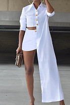 White Cotton Blend Irregularity Long Sleeve Laper Collar Shirt Shorts Solid Color Casual Sets TZ1205-1