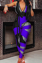 Royal Blue Digital Printing Spliced Halter Neck Deep V Collar Sleeveless Bowknot Sexy Bodycon Jumpsuits SZS8025-3