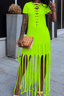 Neon Green Cotton Blend Eyelet Drawstring Short Sleeve Tassel Solid Colur T Shirt Dress SZS8057-5